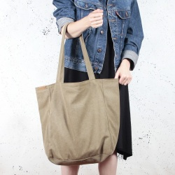 Lazy khaki shoulder bag with zipper