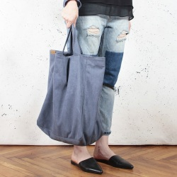 Lazy navy blue shoulder bag with zipper