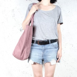Lazy pink shoulder bag with zipper