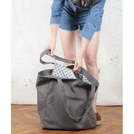 Big Lazy bag torba ciemnoszara na zamek