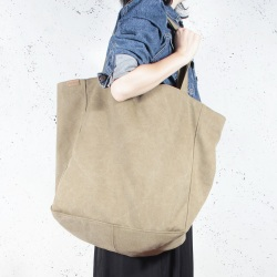Big Lazy khaki shoulder bag with zipper
