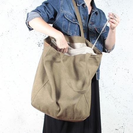 Big Lazy bag torba khaki na zamek