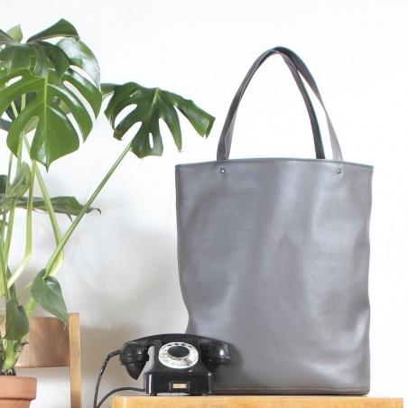 MEGA Shopper bag szary gładki  torba tote