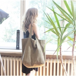 Big Lazy bag torba khaki na zamek