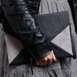Clutch bag Letter grey dark grey black
