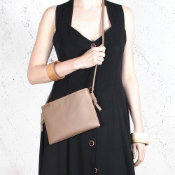 Nodo bag S dark beige small clurch with a shouder belt