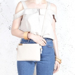 Nodo bag S beige small clurch with a shouder belt