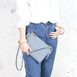Nodo bag S blue small clurch with a shouder belt