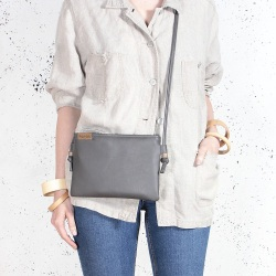 Nodo bag S gray small clutch with a shoulder strap