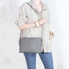 Nodo bag grey clutch with a shoulder belt