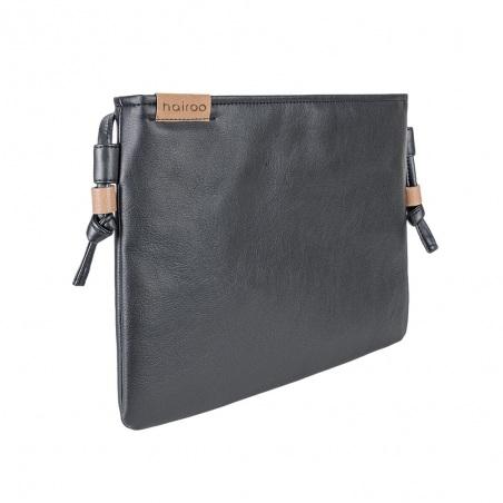 Nodo bag czarna kopertówka z paskiem na ramię