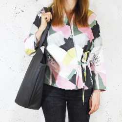 Shelly bag graphite shoulder bag with zipper
