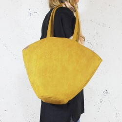 Shelly bag torba musztardowa nubuk syntetyczny