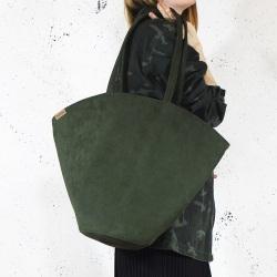 Shelly bag ciemnozielona torba nubuk syntetyczny