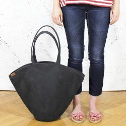 Shelly bag torba grafitowa nubuk syntetyczny