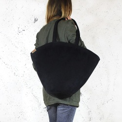 Shelly bag torba czarna nubuk syntetyczny