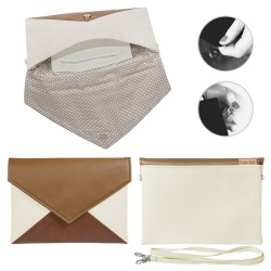 Kopertówka Clutch Letter Medium beige brown toffi - brąz beż