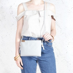 Nodo bag S light grey small clutch with a shoulder strap