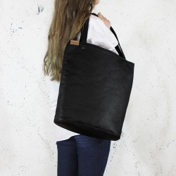 Shopper bag XL black textured