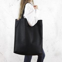 Mega Shopper Tragetasche Schwarz strukturiert