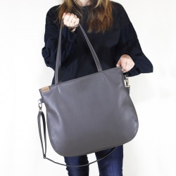 Pacco bag grey shoulder bag with zipper