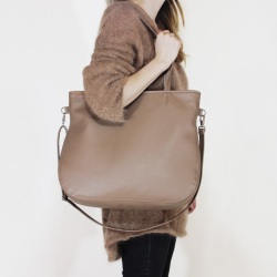 Pacco bag dark beige shoulder bag with zipper