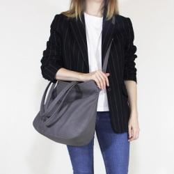 Pacco bag grey shoulder bag textured with zipper
