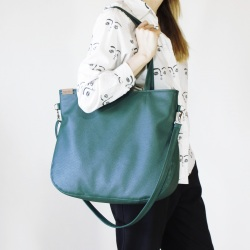 Pacco bag green shoulder bag textured with zipper