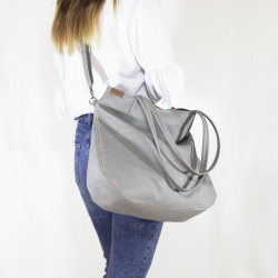 Pacco bag torebka jasnoszara teksturowana na zamek