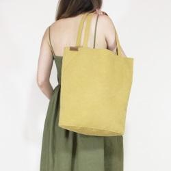 Shopper bag XL żółta torba z grubej bawełny