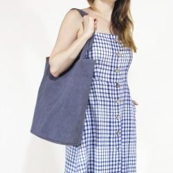 Shopper bag XL ciemnoniebieska torba z grubej bawełny
