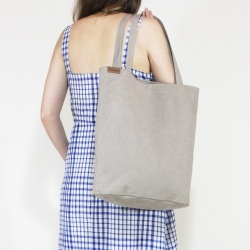 Cotton shopper bag XL beige