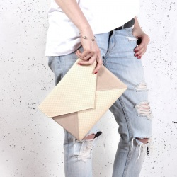 Clutch bag Letter beige perforated