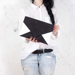 Clutch bag Letter black white